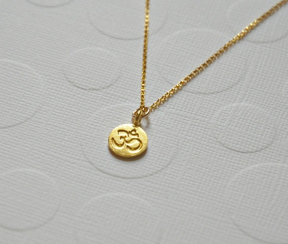 09263f89188 Om necklace, small round ohm symbol, silver ohm charm, sterling ...