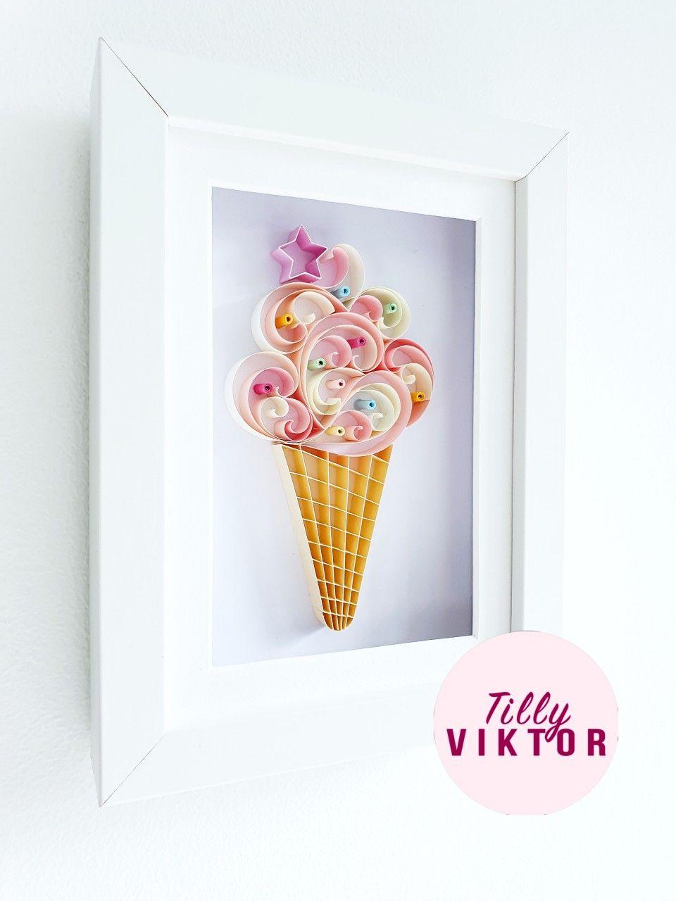 Vanilla Ice Cream Art Food Art Quilled Wall Art Kitchen Art Ice Cream Poster Bedroom Decor Quilling Designs Ice Cream Wall Art Paper Quilling Designs