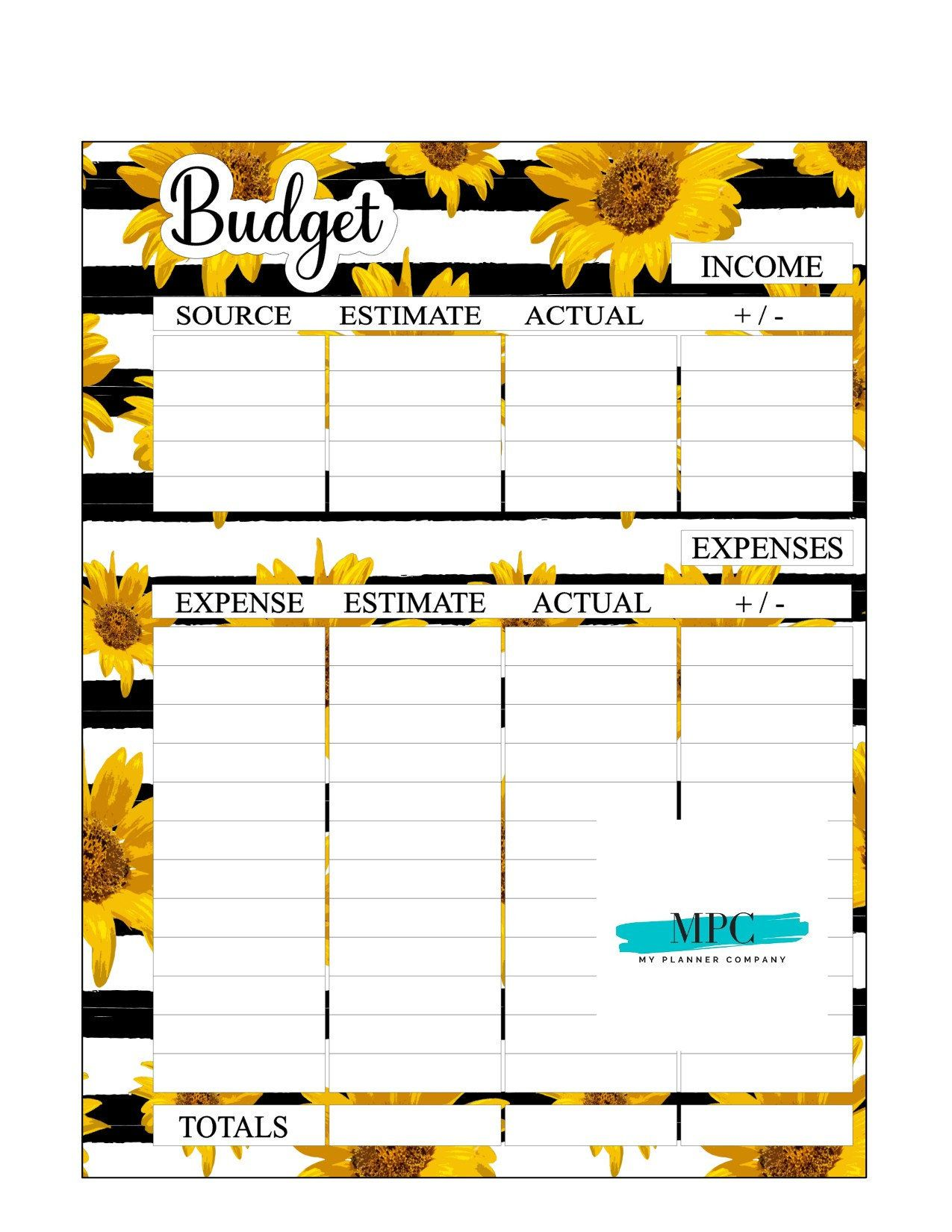 Budget Sheet Sunflower Budget Printable Planner Printable