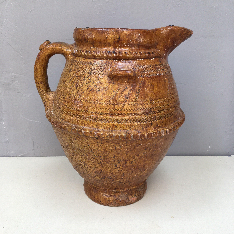 Large primitive style red earthenware clay vessel salt glaze