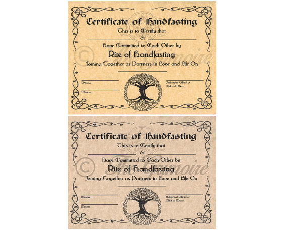 handfasting vows - Google Search FOR FUTURE REFERENCE Pinterest - new ordination certificates printable