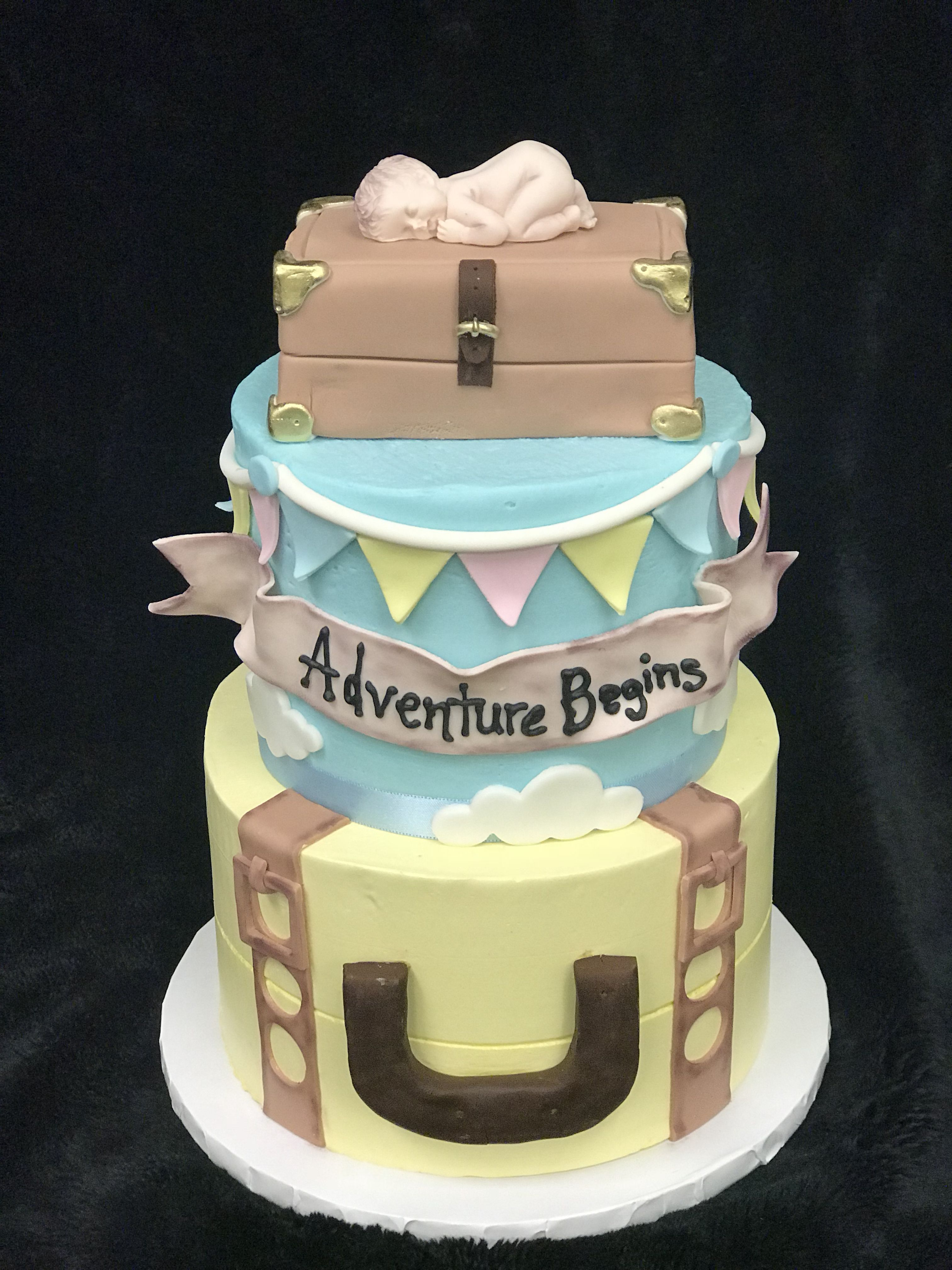 Adventure Awaits Cake Baby Shower Cakes Shower Cakes