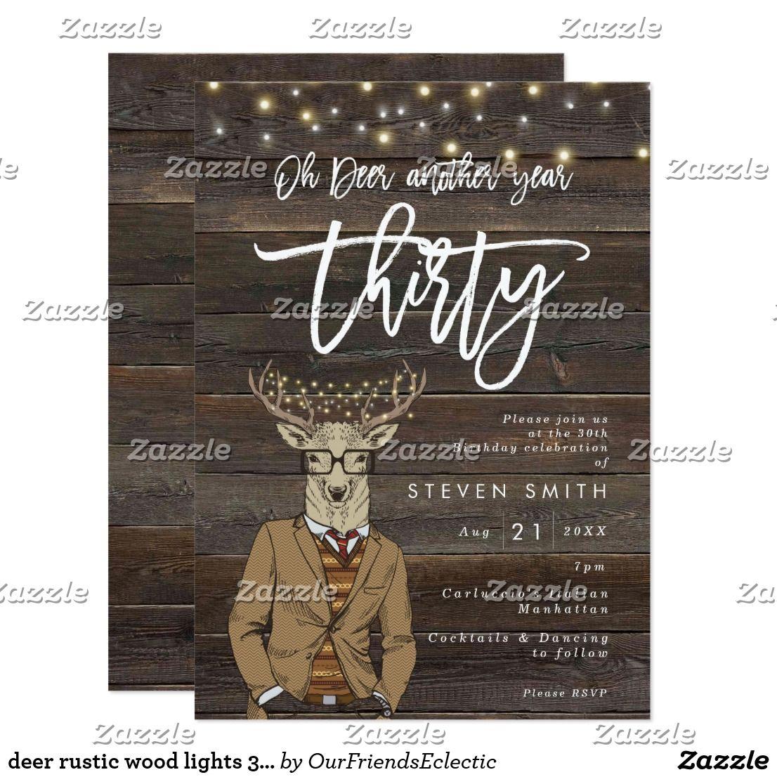 oh deer rustic wood lights 30th birthday invitation