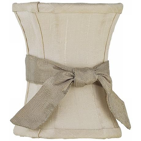 Ivory Hourglass Shade with Taupe Sash 3.75x3.75x5 (Clip-On)