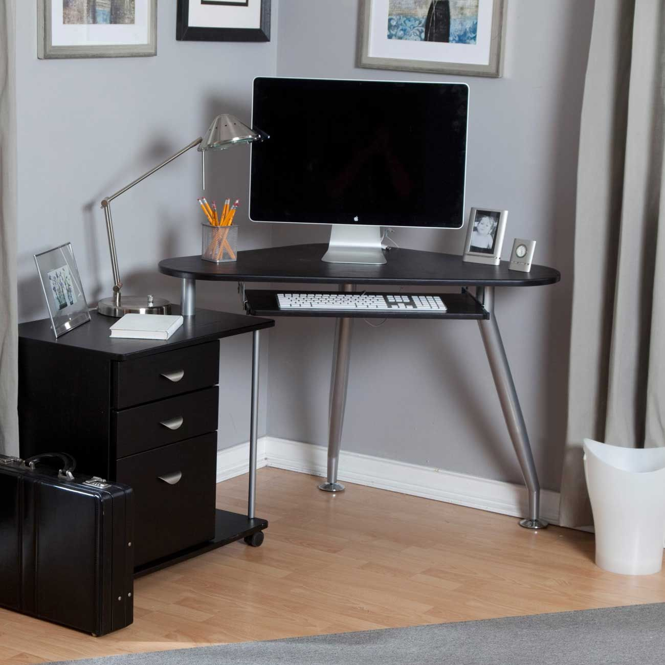 Glass Corner Computer Desk Ikea Rustic Living Room Furniture