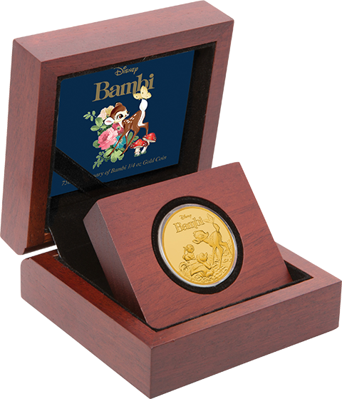 Bambi 75th Anniversary 1 4 Oz Pure Gold Coin Officially Licensed Disney Collectible Coin Presented In Attractive Themed Packaging Great Gift For A Monedas
