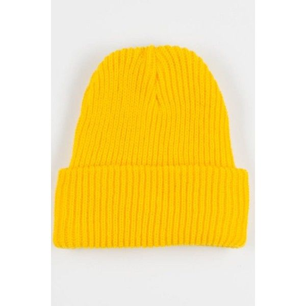 4a8db3b8995 Yellow Plain Knit Beanie (16 AUD) ❤ liked on Polyvore featuring  accessories