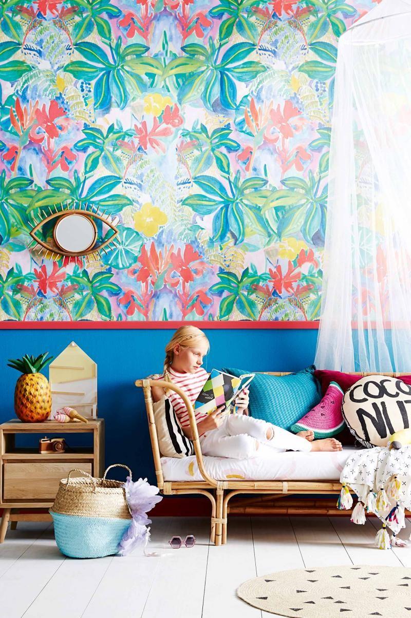 Inside Out Magazine Au. Tropical-kids-room-nov15- Wallpaper from Emily Ziz Style Studio designed by Sisters Gulassa.