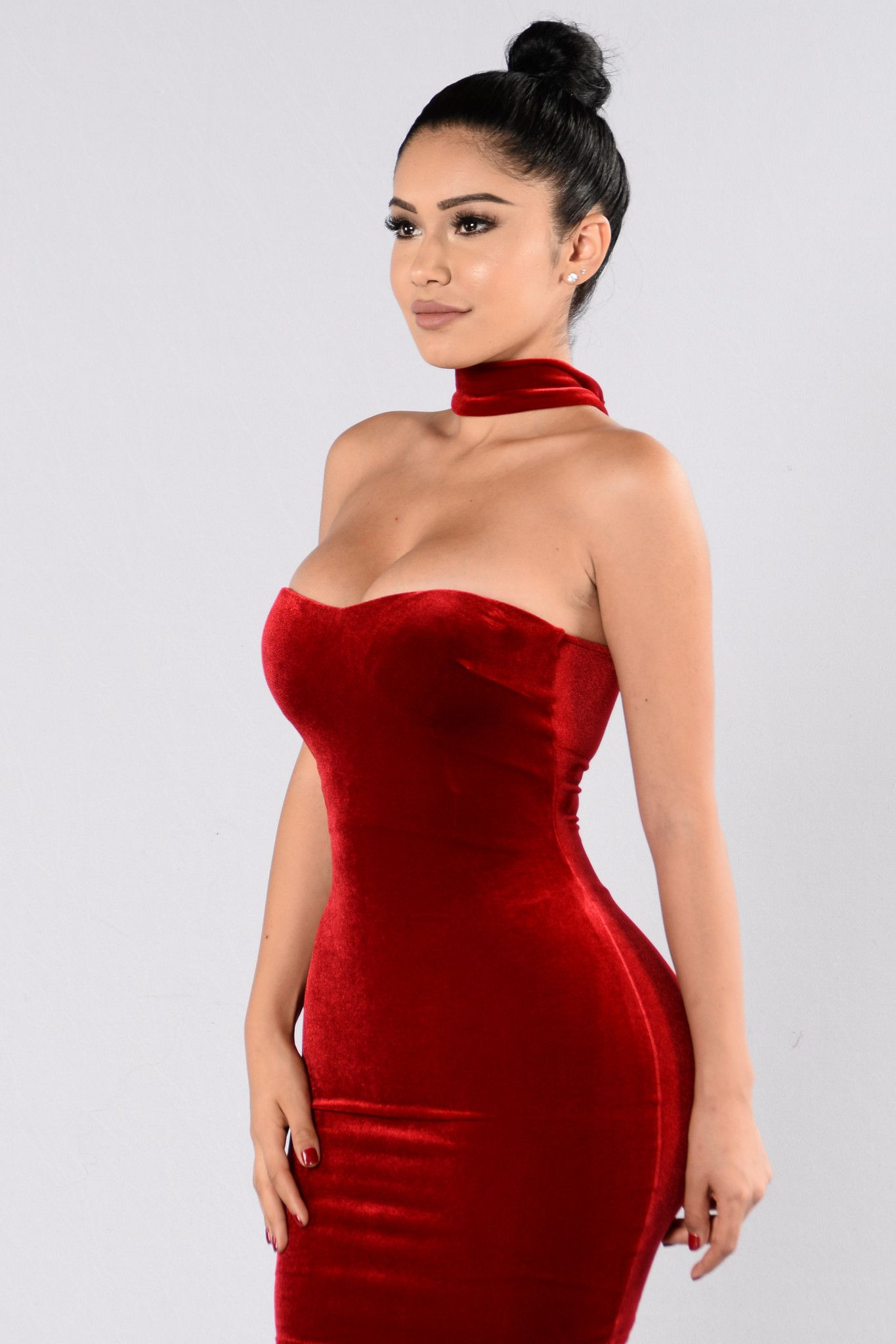 Available in Black and Red Velvet Choker Dress Tube Style Zipper Back Knee  Length Lined Made in USA 90% Polyester 10% Spandex