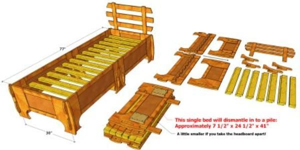 105 Compact Single Bed Single Bed Woodworking Plans Folding Beds