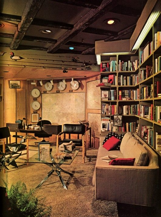 70s modern style- with bookshelves