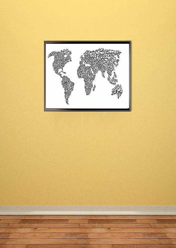 World Map Arabic Calligraphy Art Print Wall Decor by EmanEffects ...