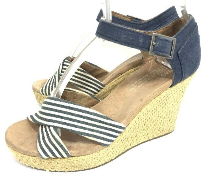d496dc555f7 Toms Sienna Womens Espadrille Sandals Blue Stripe Size 6 Wedge Heel Ankle  Strap  Toms  Espadrilles  Casual