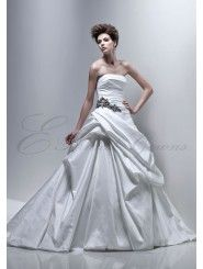 Silky Dupion Strapless bustled Skirt A-line Wedding Dress