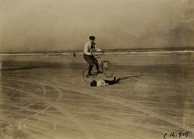 info for 24a8a 1e0cd vintage everyday: Man on bicycle jumping over boy on beach ...