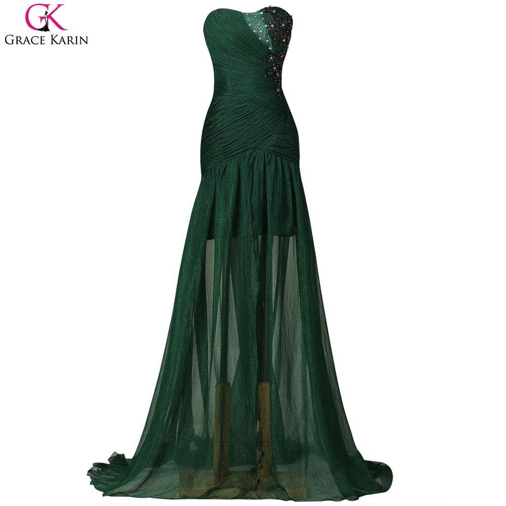 Click to buy ucuc grace karin emerald green prom dresses slit