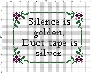 Photo of Silence is Golden, Duct Tape is Silver  – Cross Stitch Pattern – Instant Download