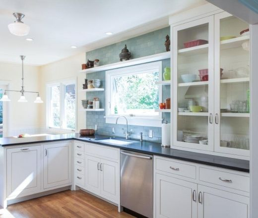 Eclectic White Kitchen: Eclectic L-shaped Teal Kitchen, White Cabinets, $50,000