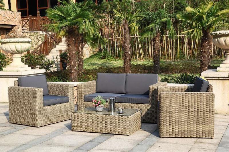 Salon de jardin résine tressée ronde luxe design 7 pièces-SDJ503W ...