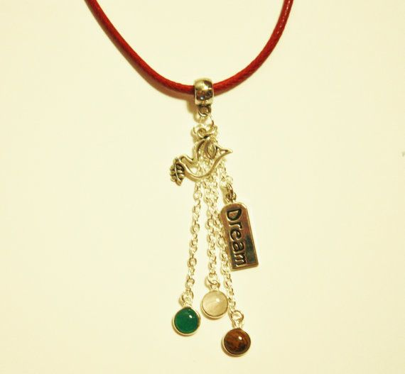 Red Leather Necklace Gemstone Charms Dream by JustforJoyCreations, $18.00