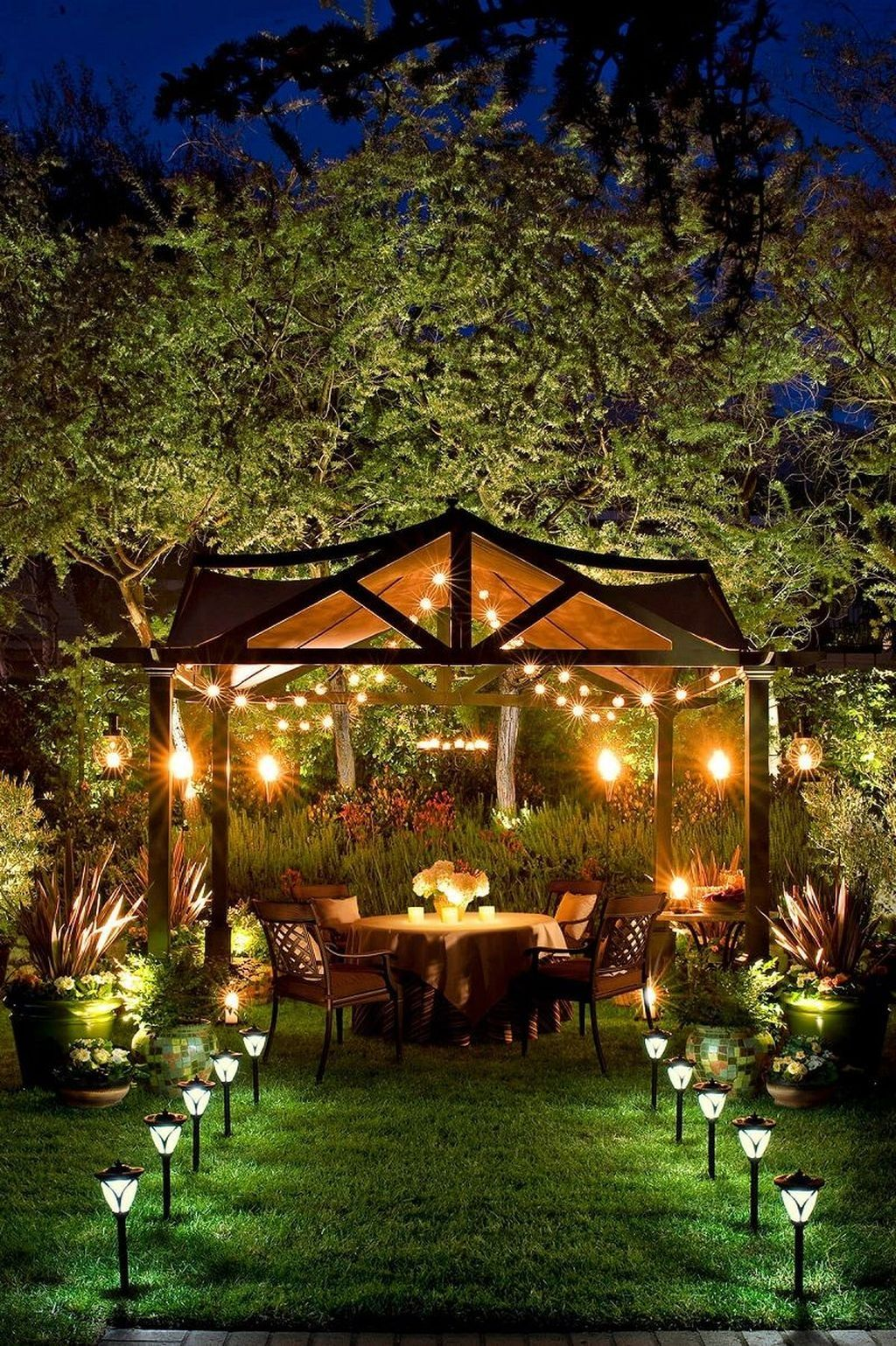 40 Cute Outdoor Lighting Ideas For Garden In 2020 Gazebo Lighting Backyard Lighting Backyard Pergola