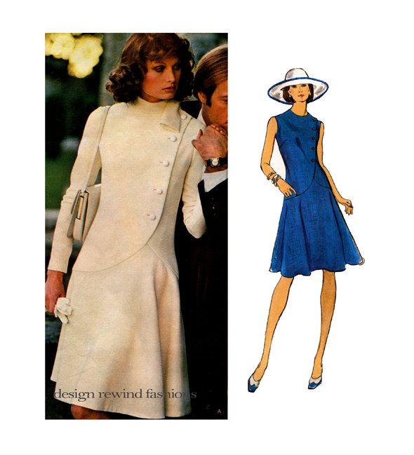 70s VOGUE DRESS PATTERN Drop Waist Dress Shaped Hip Alberto Fabiani ...