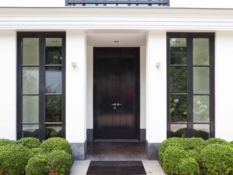 Black Front Door Windows Facade House House Exterior Front