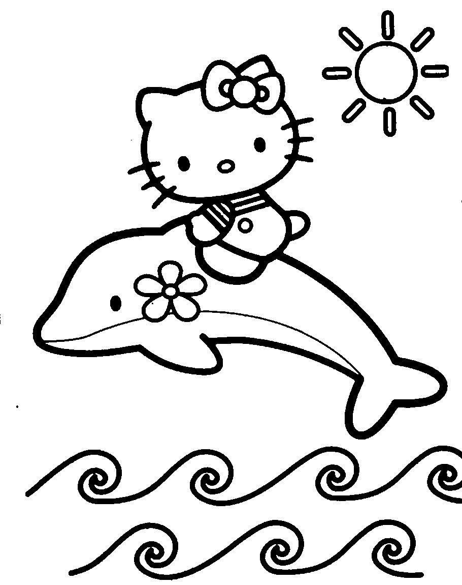 הלו קיטי רוכבת על דולפין Draws Pinterest Coloriage Coloriage