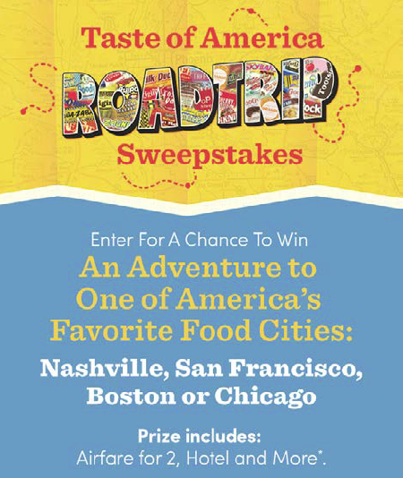 Our partners at Cost Plus World Market would like to make someone's road trip dreams come true! The Taste of America Road Trip Sweepstakes gives you the chance to enter to win an adventure to one of America's Favorite Food Cities: Nashville, San Francisco, Boston or Chicago. Prizes includes: Airfare for 2, Hotel, Food Tour, City Excursions and Dinner. Plus, a $1,000 World Market gift card! There are also three first place $500 World Market gift card prizes. Sweepstakes ends 7/7/17 [ad]