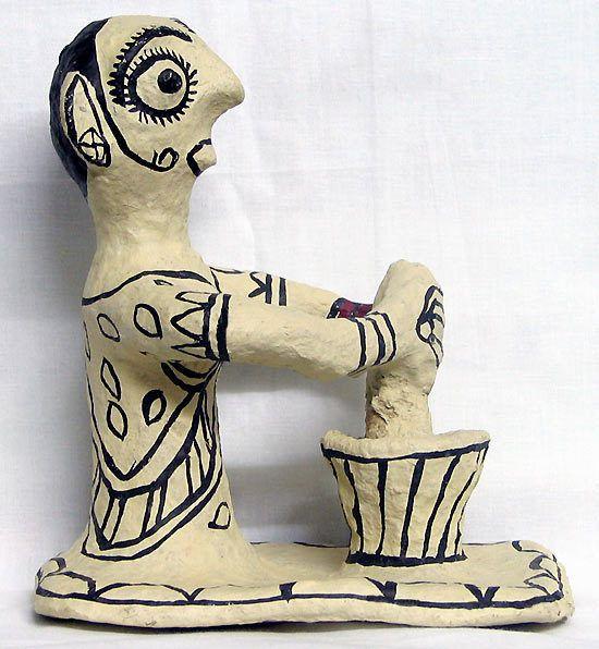 Indian Woman Grinding Spices - Tribal Art of Bihar (Papier Mache))