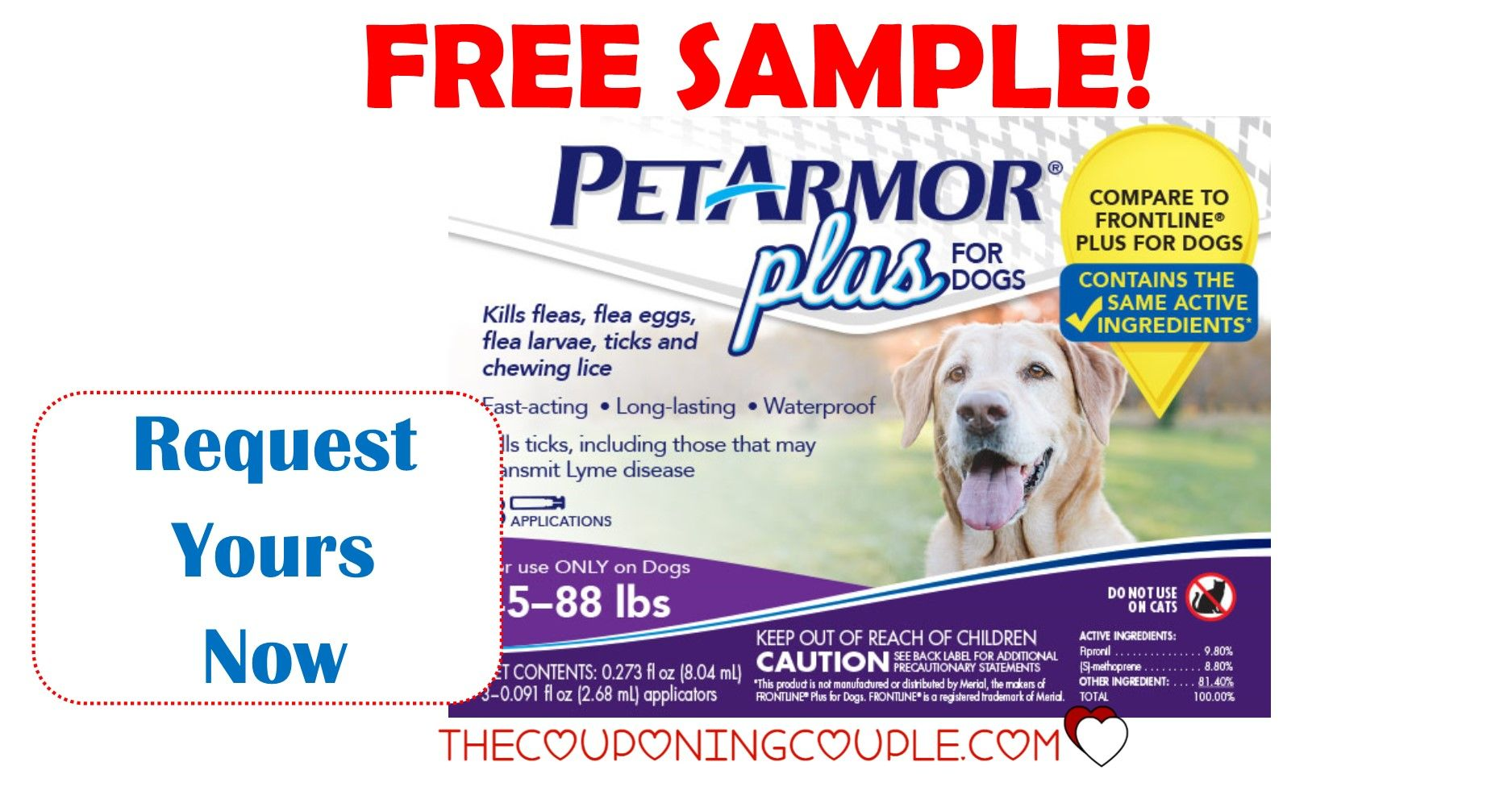 FREE SAMPLE! Pet Armor Plus for Dogs or Cats! Dogs, Pets