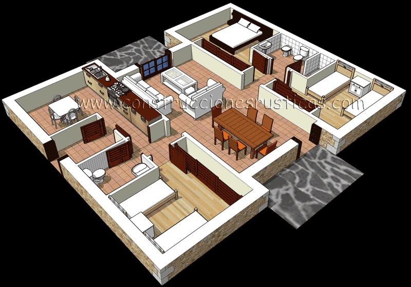 3d de distribuci n de casa r stica de piedra de planta for Distribucion de una casa de una planta