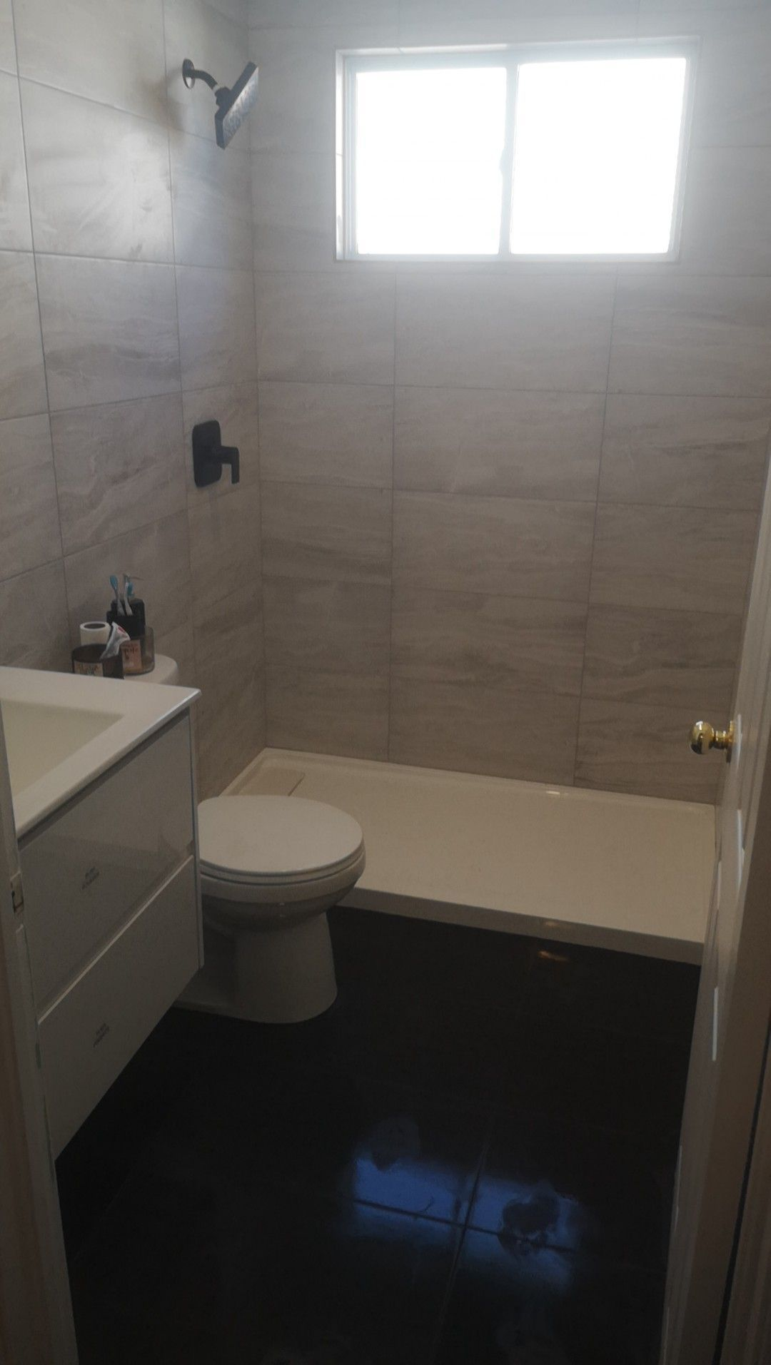 Small Bathroom I Tiled Recently Floor To Ceiling 12x24 Tile In 12x24 Tile In Sma 12x24 Bathroom In 2020 Modern Bathroom Remodel Small Bathroom Brown Tile Bathroom
