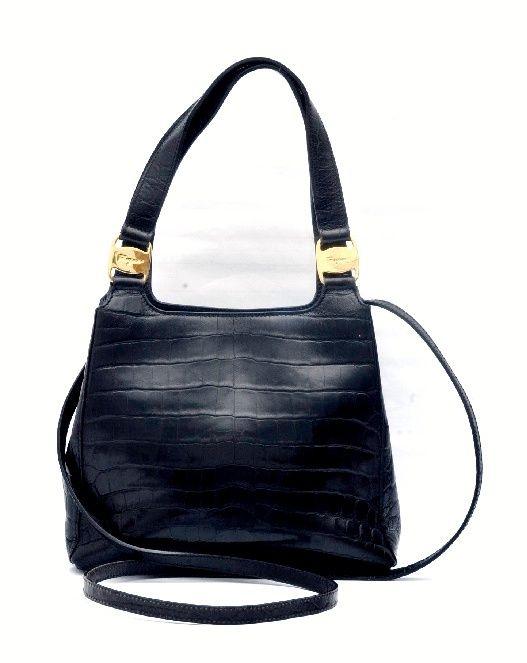 ff06d6f8e2 Vintage Salvatore Ferragamo Black Crocodile Small Hand Shoulder Bag ...