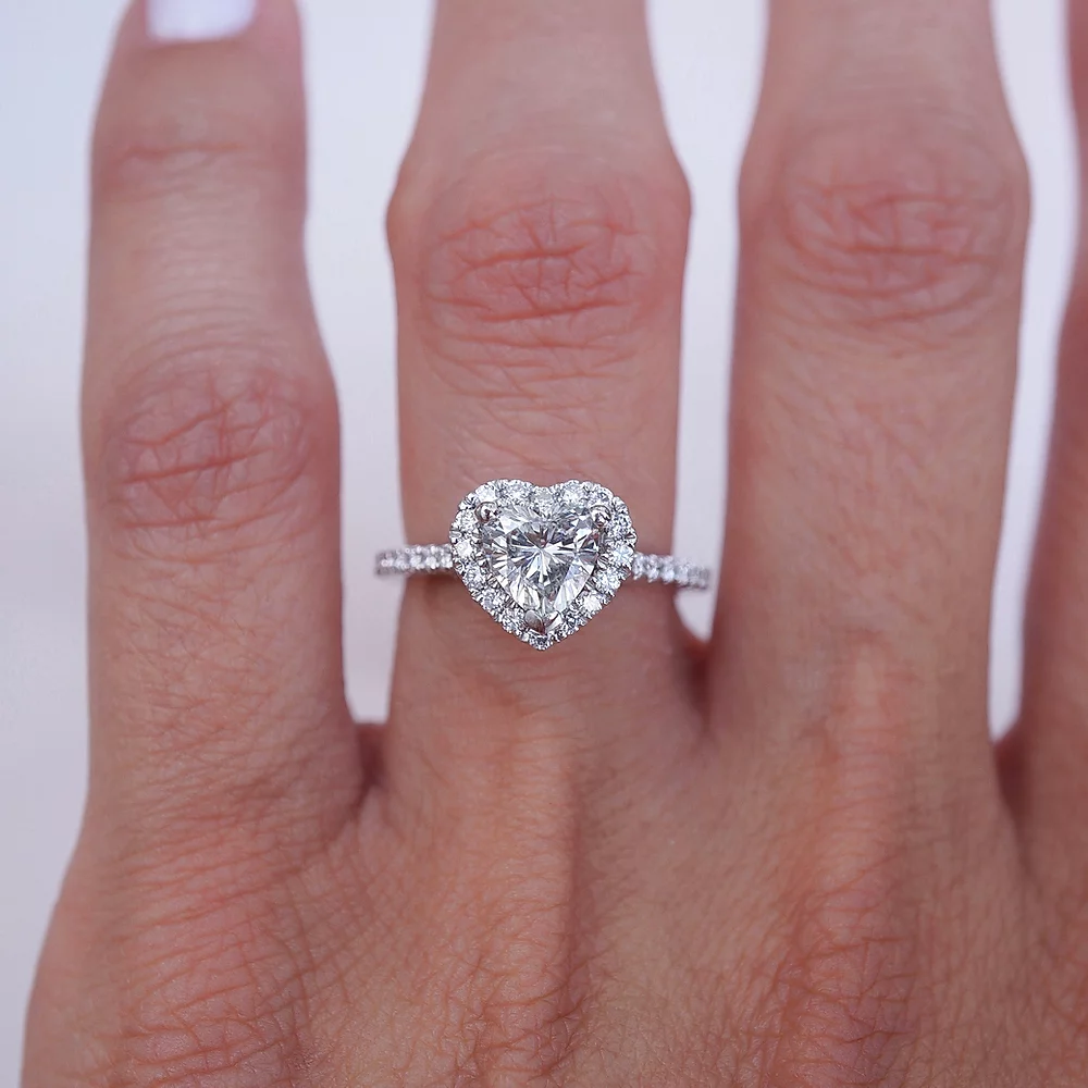 Solid 1.20 Ct Heart Cut Diamond Solitaire Engagement Ring 14K White Gold Over