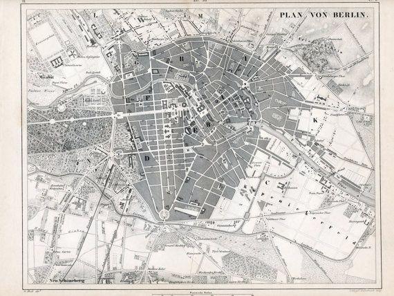 Antique Map Of Berlin Black And White Berlin Map Vintage - Vintage map berlin