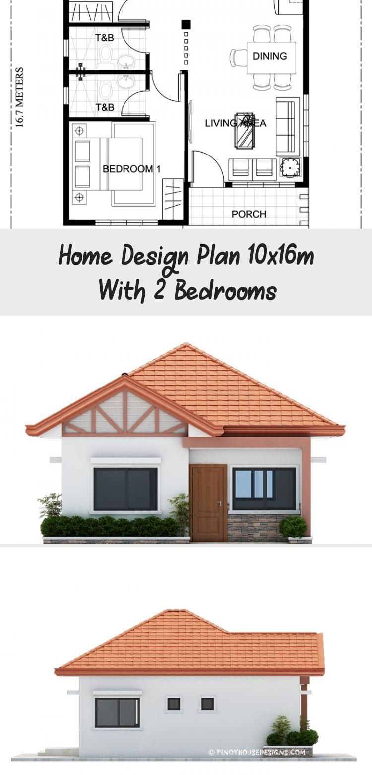 Home Design Plan 10x16m With 2 Bedrooms Home Ideas Floorplansillustration Simplefloorplans Homefloorplans In 2020 Home Design Plan House Design Simple Floor Plans