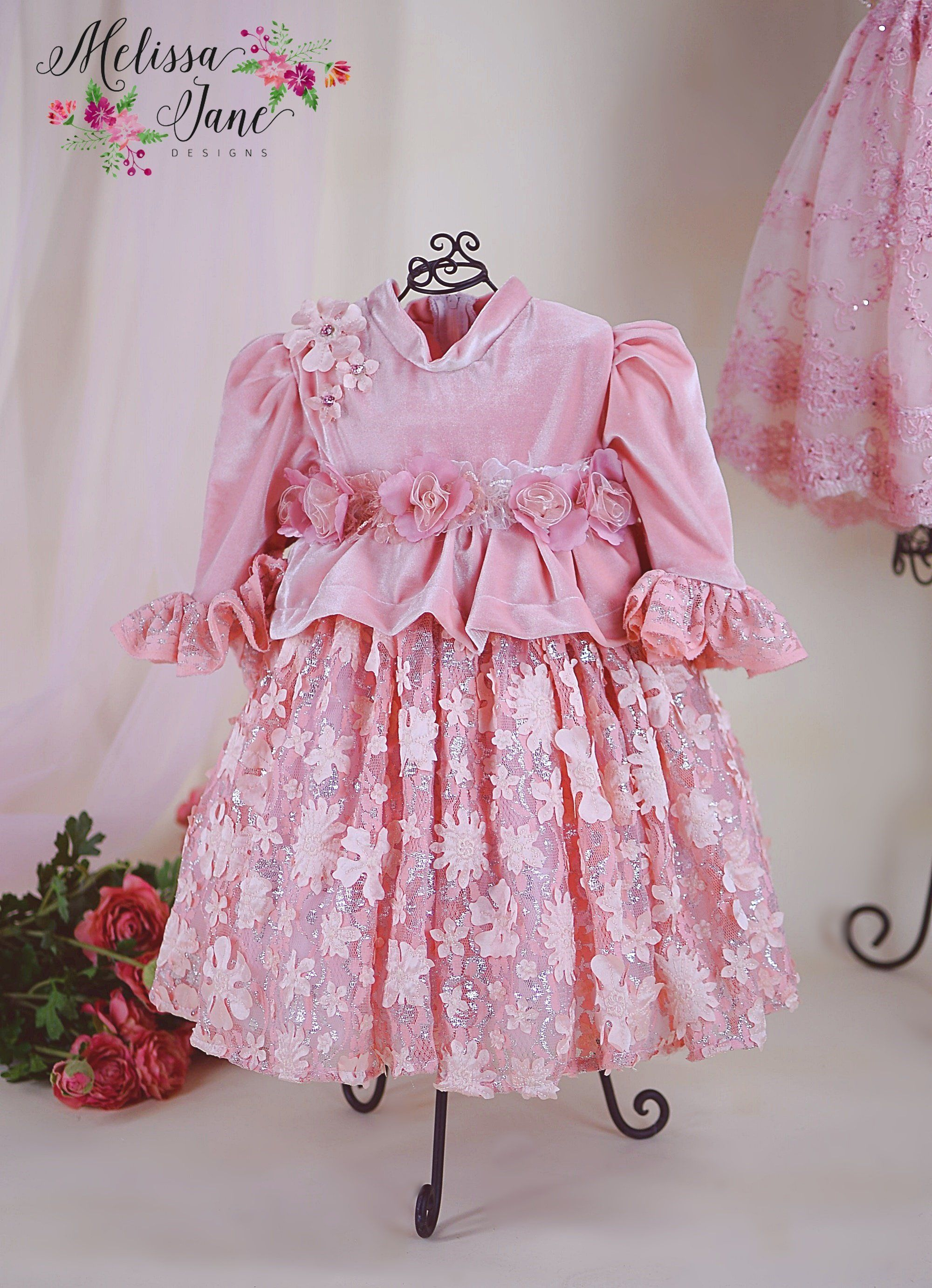 699d0e874 This is such a sweet baby dress (Limited Fabric)Soft Velvet Dress , high  neck with cute sleevespeplum waist adorned with fabric flower, full zipper  at the ...