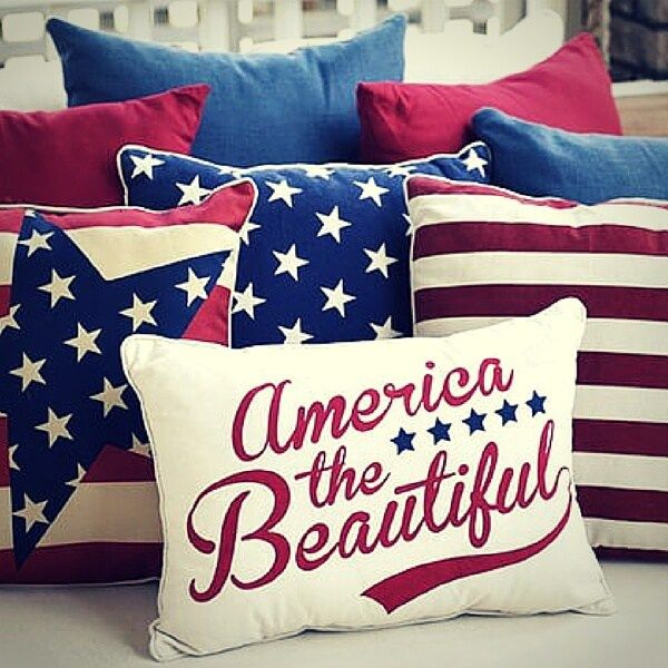 Pottery Barn Flag Pillow Cover 18 sq Embroidered 4th July Labor Veterans New
