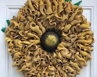 Photo of Sunflower net wreath, sunflower wreath, summer wreath, autumn wreath, everyday wreath (SOLD)