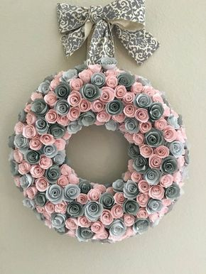 Paper flowers/Baby pink paper flowers/gray paper f