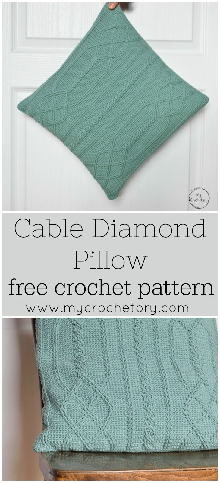 Cable Diamond Pillow - free crochet pattern by | Pinterest | Tejido ...