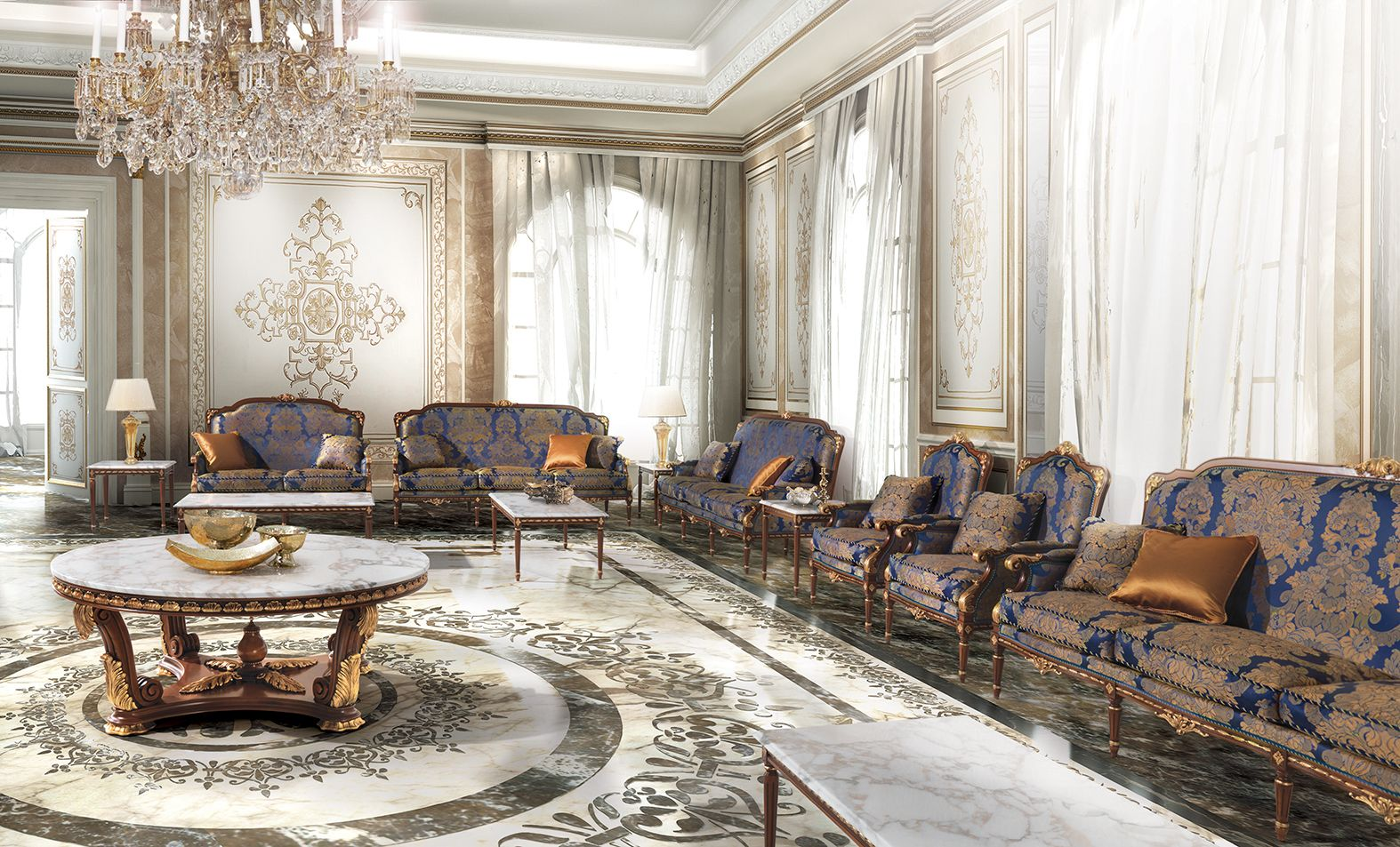 MONTI Classic Italian Blue And Gold Sofas For Luxury Living Room