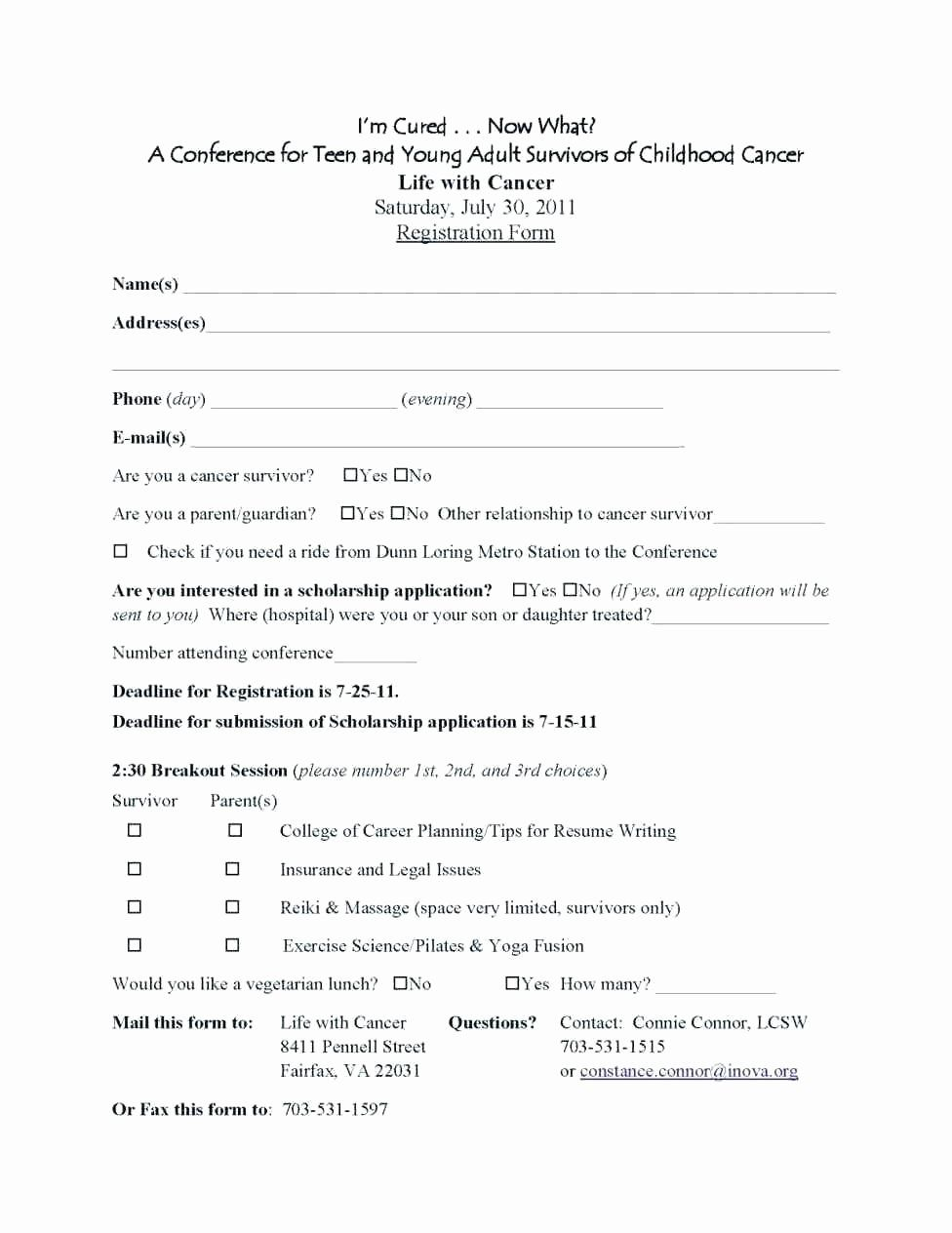 Conference Registration form Template Word Fresh College