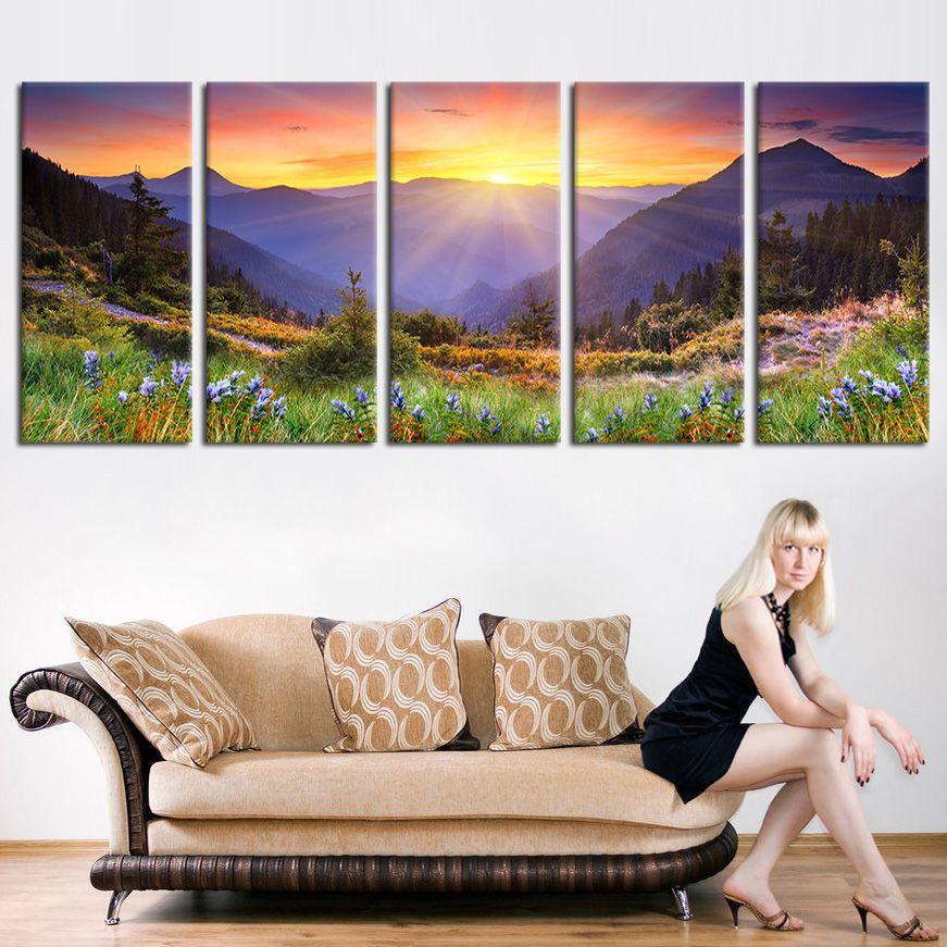 Aliexpress Com Buy Large Painting Canvas Print Mountain And Sunlight Wall Art Decor Sunset Pin Sunset Canvas Painting Large Canvas Prints Oversized Art Print