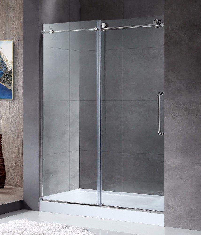 Madam Series 60 by 76 Frameless Sliding shower door in Chrome w/ Handle - ANZZI SD-AZ13-02CH #framelessslidingshowerdoors