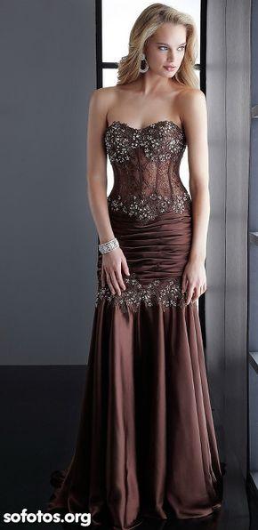 bdbb6196c2b Vestido tomara que caia para noite Brown Prom Dresses