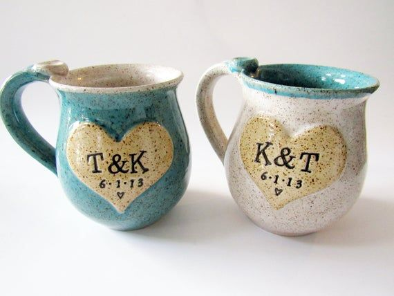 His and Hers Wedding or Anniversary Mugs, Engraved Speckled Mugs, Two Mugs, Made to Order