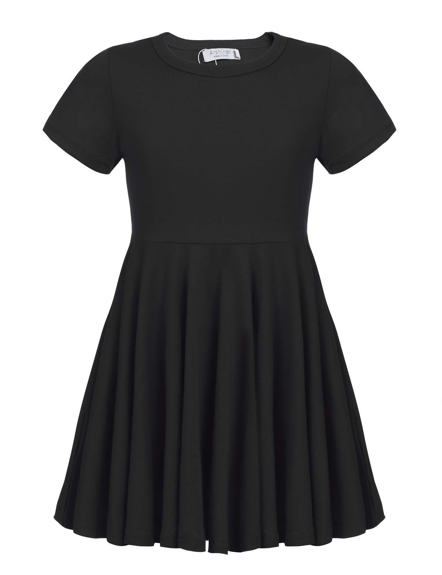 Arshiner Girls Short Sleeve//Sleeveless Dress A line Twirly Skater Casual Dress for 4-12 Years
