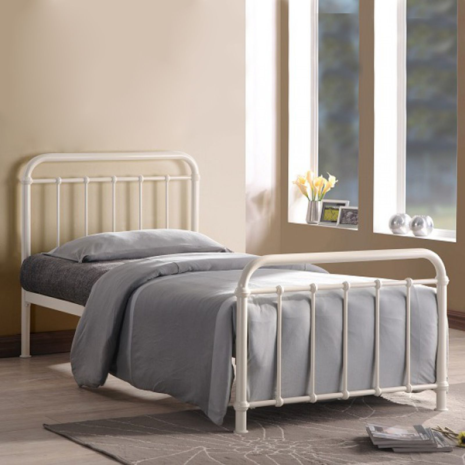 time living miami ivory metal bed frame bed frames metal beds and